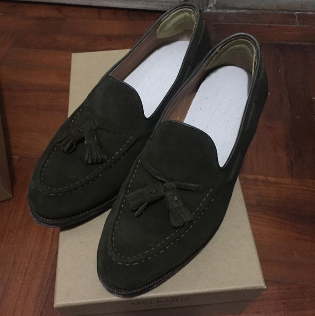 d8a17e91cab Meermin Green Suede Loafers