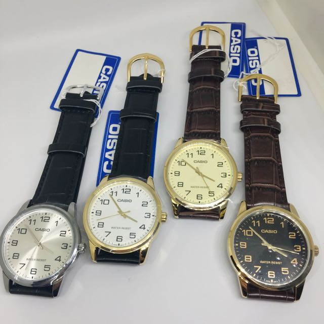 97b73841947 Original Casio Men s Analog Number Display Wristwatch Watch Leather Strap  MTP-V001