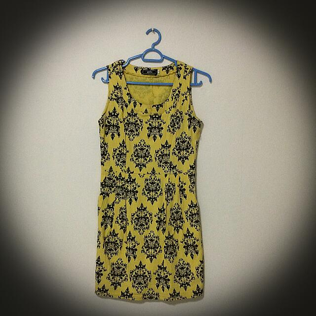 Yellow Damask Dress