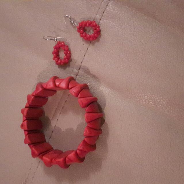 Red Earrings And Bracelet