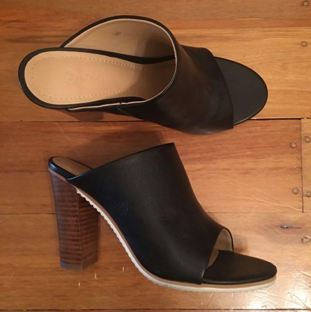 Seed Slip On Open Back Heels - Size 39