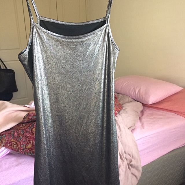Shiny Gorgeous Slip Silver Dress