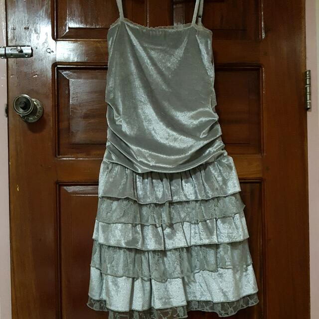 Silver Dress w/ Grey Lace Detail