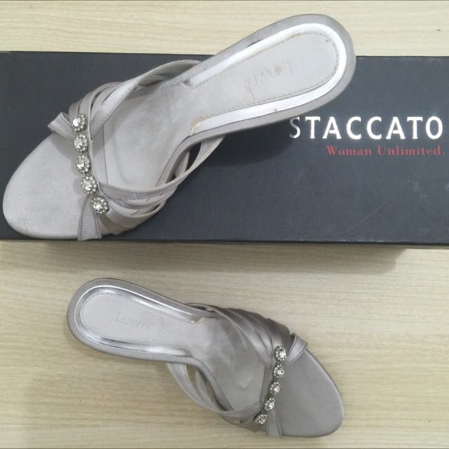 Staccato Pewter Open Toe Shoes With Rhinestones
