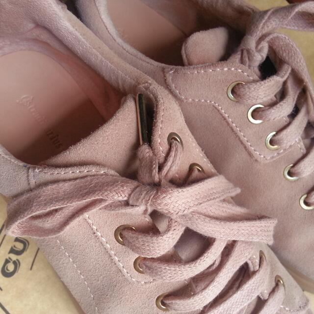 Stradivarius Pink/Nude Leather Thick Sole Sneakers
