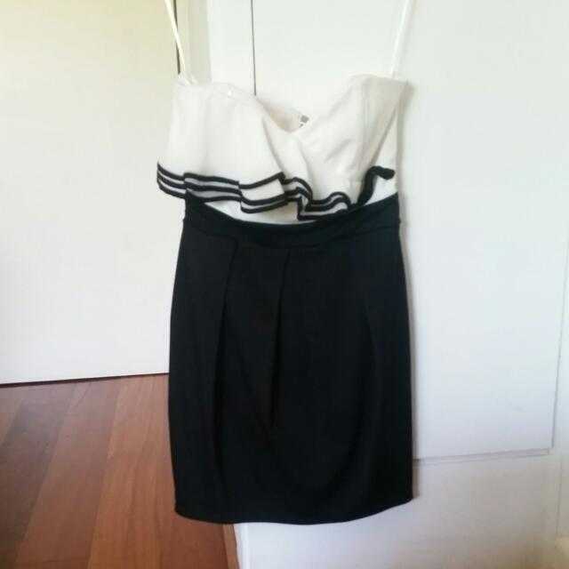 Strapless Black And White Dress, Size 8