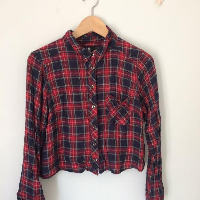 Tartan Red Crop Shirt
