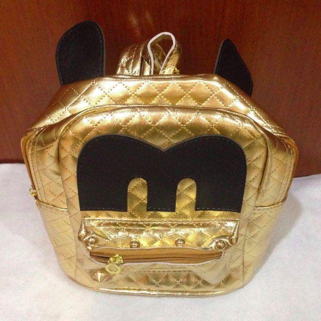 Tas Wanita Ransel Mini Mickey warna Emas Gold