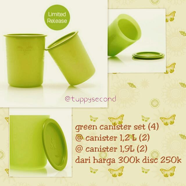 Tupperware Green Canister Set