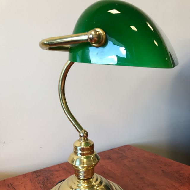 Vintage Green Glass Shade Banker's Lamp