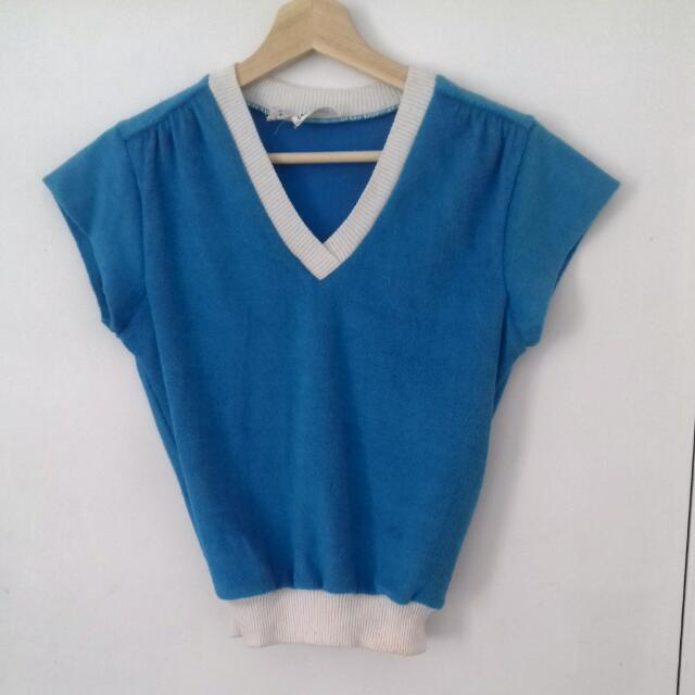 Vintage V-neck Blue Tennis Top