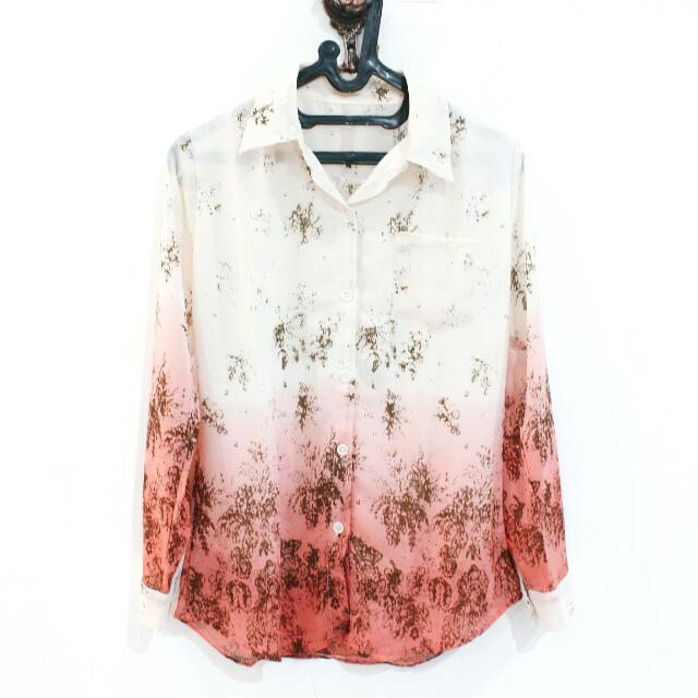 White Orange Abstrack Shirt