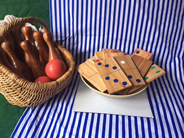Wooden Bowling & Dominos Picnic Games
