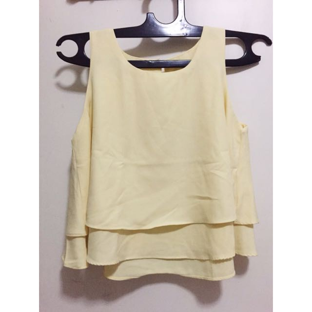 Yellow Layer Crop Top