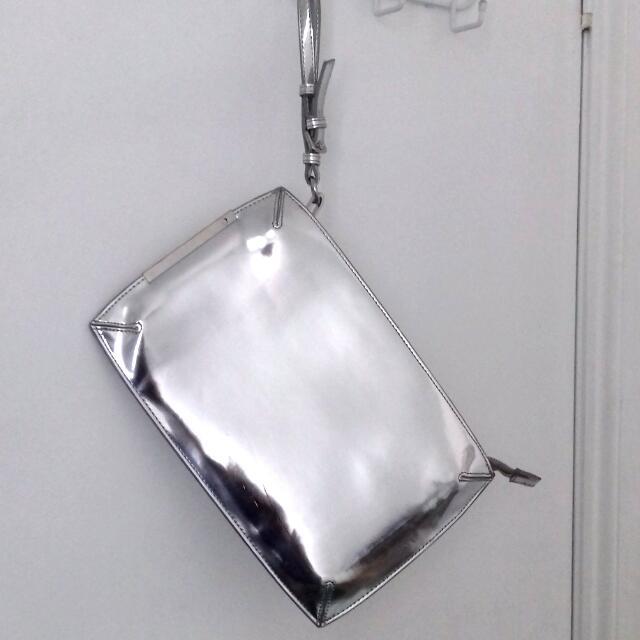 Zara Basic Silver Clutch With Wrist Strap