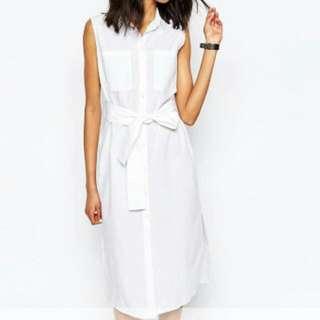 Monki Exclusive Wrap Tie Sleeveless Shirt Dress