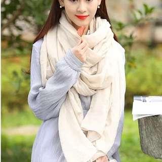 棉麻超長米色圍巾