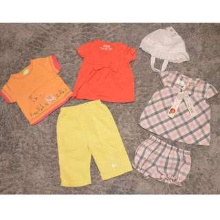 Mixed Lot of 6-9 month baby girl clothes incl 2 BNWT, 2 tees, 1 pants, 3 dresses/tops with matching bloomers & hat (see comments for pics)