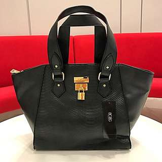 BCBG CROCO EMBOSSED LOCK TOTE HANDBAG