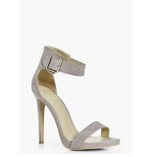 Amelia Natalia Boohoo 7 Grey Buckle Ankle Band New In Box Heel Open Toe Stiletto 38 5 Two Part