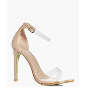 Julia Boohoo 7 Clear Strap Buckle Ankle Band New In Box Heel Open Toe Stiletto 5 38 Mocha Patent
