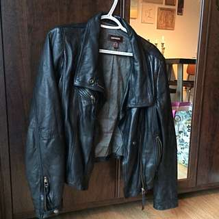Black Danier Leather Jacket , Size Small