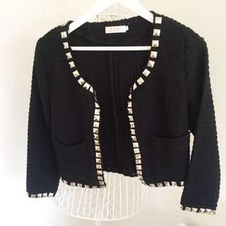 Black Jacket With Silver Beads
