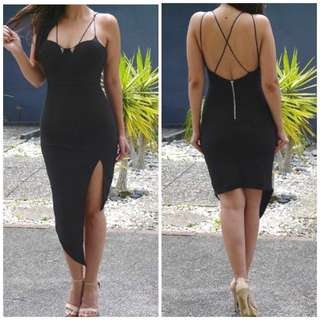 Black Evening Asymmetrical Dress