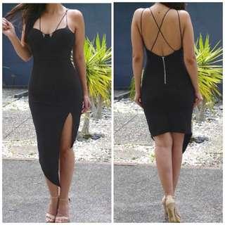 Black Evening Asymmetrical Dress