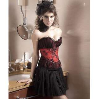 NEW ! Red and Black Lace Corset