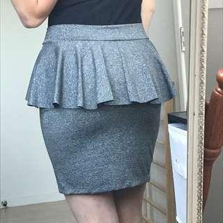 Mottled Grey Peplum Skirt