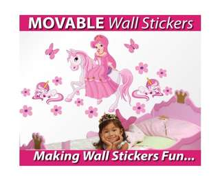 Medium Size Princess on a horse with unicorns Wall Sticker - Totally Movable