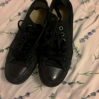All Black Converse Size 7 Womens