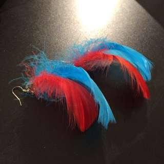 Red And Blue Feathered Earings