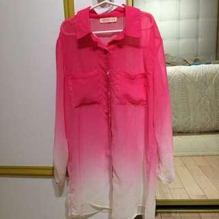 ARDENE Pink & White Blouse