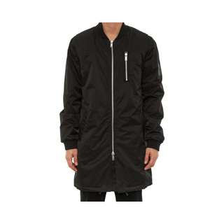 Black Longline Nylon Bomber Jacket