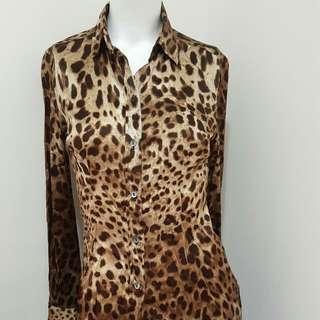 🚚 D&G 豹紋絲質襯衫