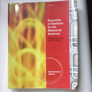Essentials Of Statistics For The Behaviorism Sciences