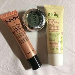 3 Items, Nyx Illuminator, Nyx Eye Shadows, Amie Exfoliating Wash