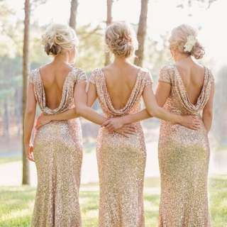 Made to Measure Sequin Cowl Back Cap Sleeves Mermaid Maxi Gown - Long Prom/ Bridesmaid Dress - MS004
