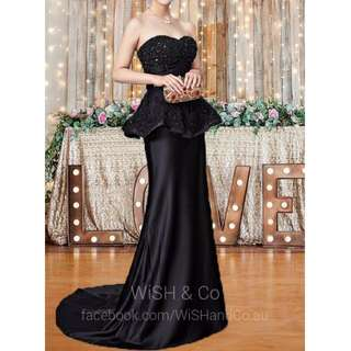 Black Beaded Formal Peplum Satin Dress - Fitted Mermaid Trumpet Strapless Sweetheart Evening Gown -  XH001
