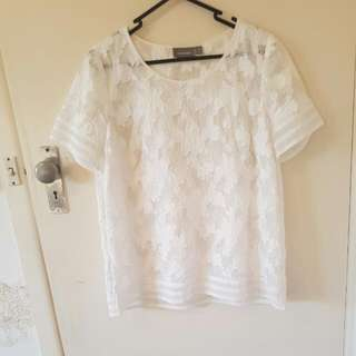 Sussan White Lace Mesh Top Size 10