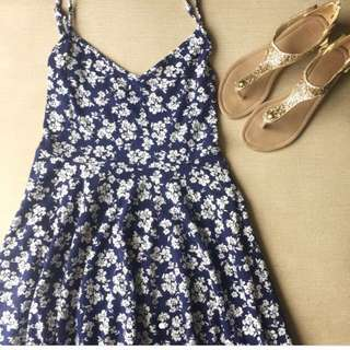 Forever 21 Blue Floral Spaghetti dress