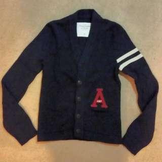 Navy Blue Cotton /Nylon/ Rabbit Hair Blend. Button Up Preppy Cardigan