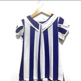 white blue stripes blouse