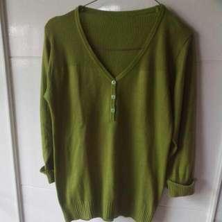 Knitted Green Blouse Tangan 3/4