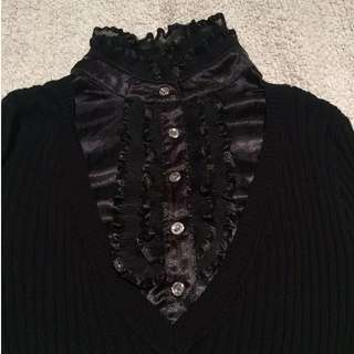 Black Victorian Collar Ribbed Blouse Cardigan
