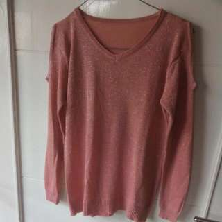 Knitted Cut Out Long Sleeves Blouse