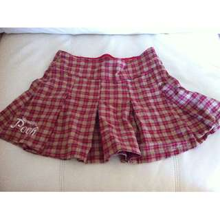 Ladies Winnie the Pooh Checked Red Skirt Size L
