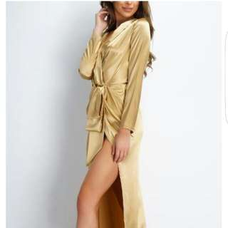 Wrap Dress - Gold - L